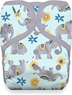 Thirsties Reusable Cloth Diaper, One Size Pocket Diaper, Snap Closure, Elefantabulous