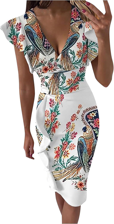 Women's V-Neck Ruffle Sleeve Pleat Waist Bodycon Evening Cocktail Formal Dress