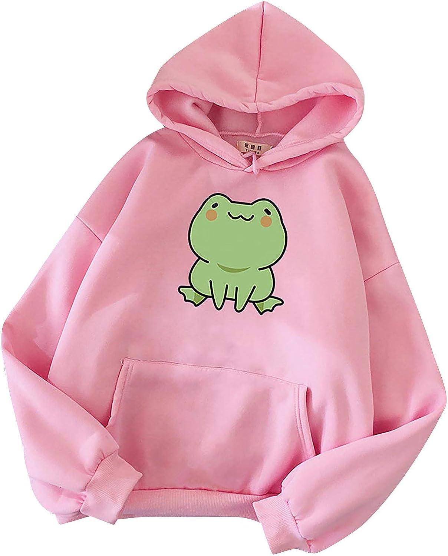 Women Sweatshirts Women's Funny Frog Print Pocket Pullover Long Sleeve Hoodies Casual Jumper Tops Solid Blouse Tops
