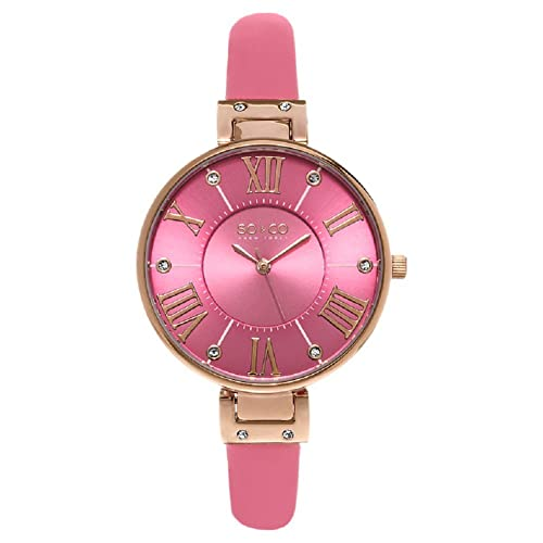SO&CO New York Womens 5091.5 SoHo Gold-Tone Case Watch with Slim Pink Leather Band