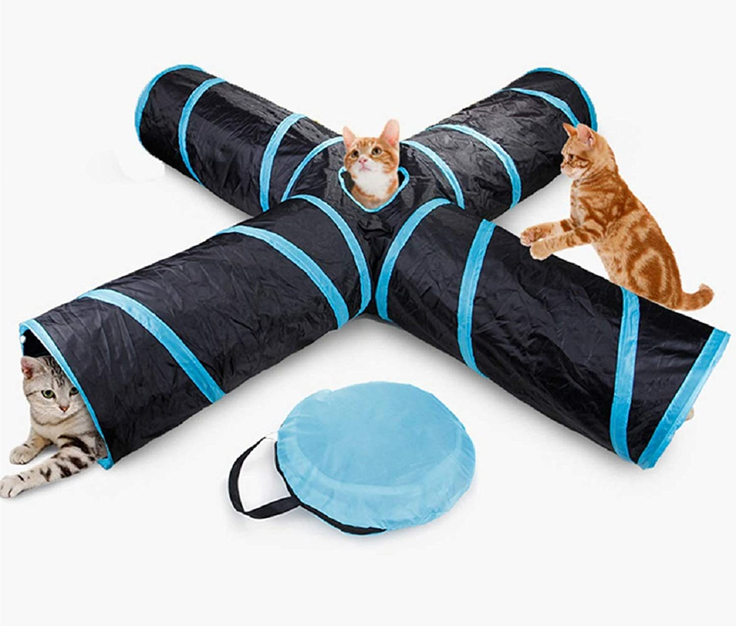 ForuMall Cat Tunnel Toy Upgraded Collapsible 4 Way Pet Play Tunnel Tube Storage Bag & Cat Toys