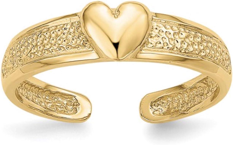 Nina's Jewelry Box 14k Yellow Gold Polished Heart Toe Ring