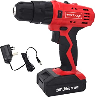Werktough Cordless Drill Impact Driver 20V Li-Ion Batteries Electric Bolt Screwdriver,Drill Driver, Fast Charger, 1300RPM ...