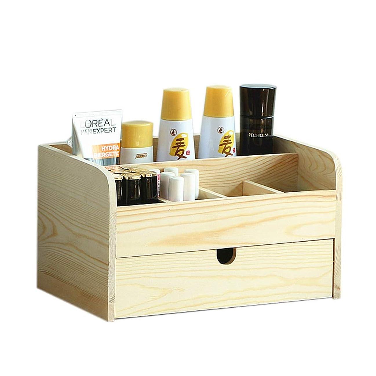 見分けるシネマメダリスト化粧品収納ボックスデスクトップ収納ラック引き出し付きデスク収納ボックス (Color : Wood color, Size : 30x19x17cm)