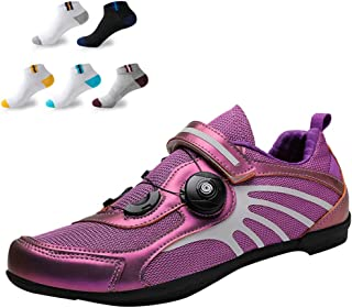 OneChange Men's Women's Cycling Shoes, Summer Casual Bike Shoes Anti-Slip No Lock Breathable Cushioning Camping Hiking Fashion Road Cycling Shoes (Color : Purple, Size : 41EU)
