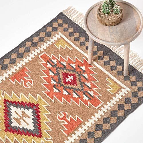 Homescapes Kelim-Teppich Jaipur, handgewebt aus Wolle/Baumwolle, 120 x 170 cm, bunter Wollteppich/Baumwollteppich mit geometrischem Muster und Fransen