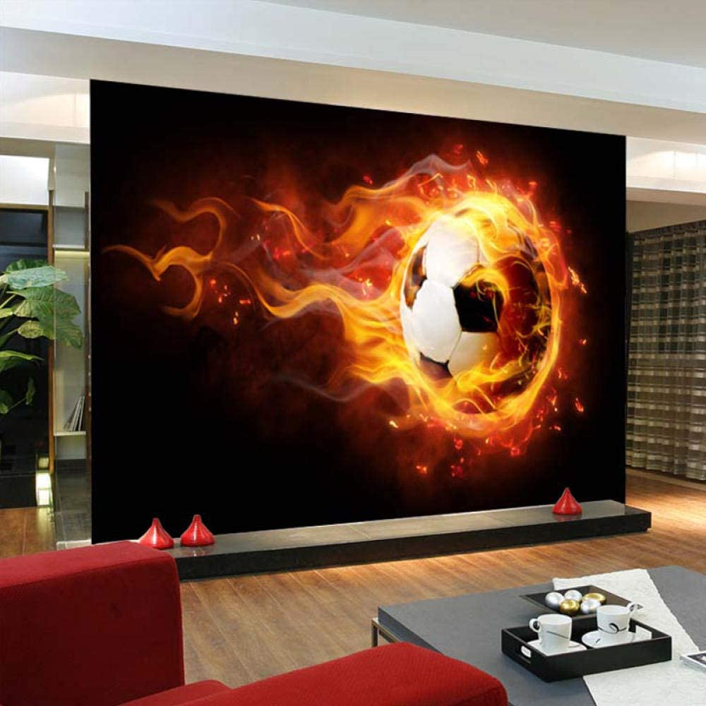 Custom Photo 3D Wallpaper Football Flame Caf Bar Mural Large trust service Ktv