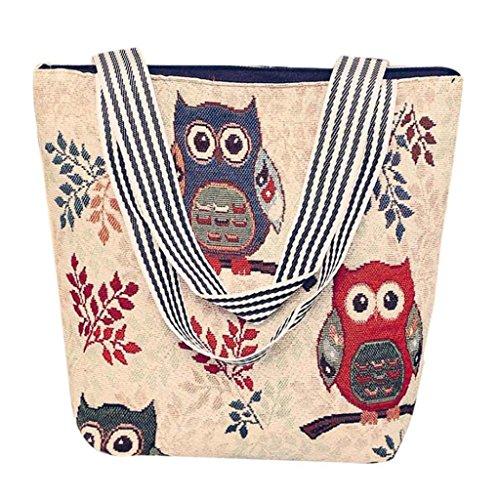 VJGOAL Damen Schultertasche, Damen Mädchen Cartoon Eule Canvas Handtasche Schultertasche Umhängetasche Schultertaschen Geschenk der Frau (33 * 10 * 32cm, D)