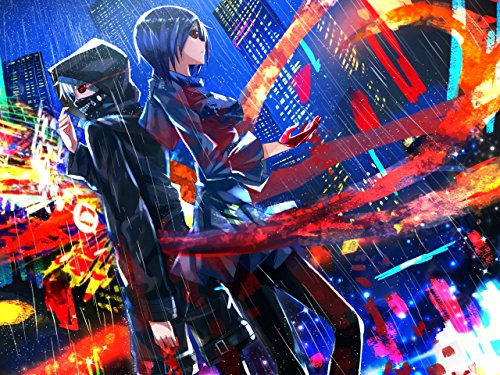 Tokyo Ghoul Poster Print,Anime Wall Decoration,Girl and Boy Art Poster,Rain Art Print,Anime Watercolor Print (S - 11'' x 17'')