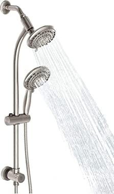 "Egretshower Handheld Showerhead & Rain Shower Combo Spa, 27.5"" Drill-free Stainless Steel Slide Bar, 5""of 5-way Handheld Show"