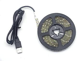 Renohef USB Led Strip Lights,Waterproof DC 5V SMD 3528 16.4ft(5m) 300 Leds 60leds/m Cool White Led Strips with USB Cable,TV Desktop Laptop Backlight,Kitchen Decorative Lighting,Ribbon Light,Rope Light