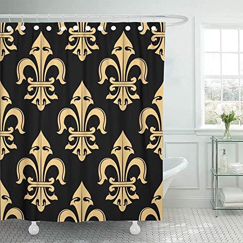 "JOOCAR Fleur De Lis Shower Curtains for Bathroom,Bright Fabric Shower Curtain with 12 Hooks 72""x72"""