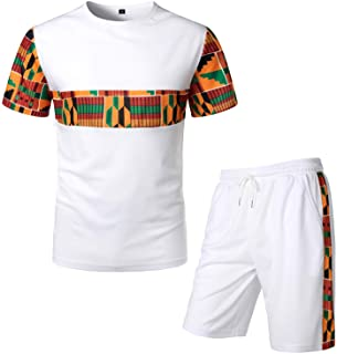 LucMatton Men's African Pattern Printed T-Shirt and Shorts Set Sports Mesh Tracksuit Dashiki Outfits