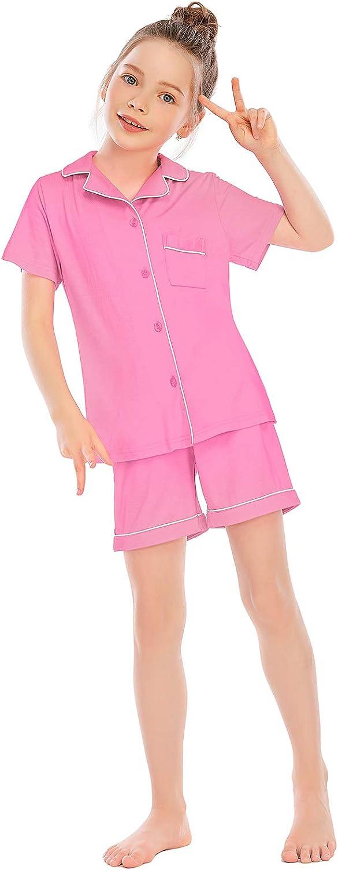 Veseacky Unisex Girls Boys Pajamas Long Sleeve Sleepwear Button-Down 2 Pcs Pjs Set for 5-14 Years