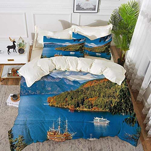 ropa de cama: juego de funda nórdica, barco pirata, lago Ashi, monte Fuji, ciudad japonesa, viaje a Hakone, destino turístico, decoración, funda de edredón de microfibra hipoalergénica con 2 fundas de