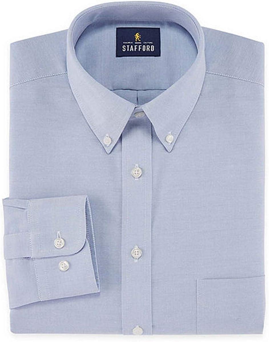 Stafford Regular Travel Oxford Mens Button Down Collar Long Sleeve Wrinkle Free Stretch Dress Shirt (Oxford Blue, 18/36-37)