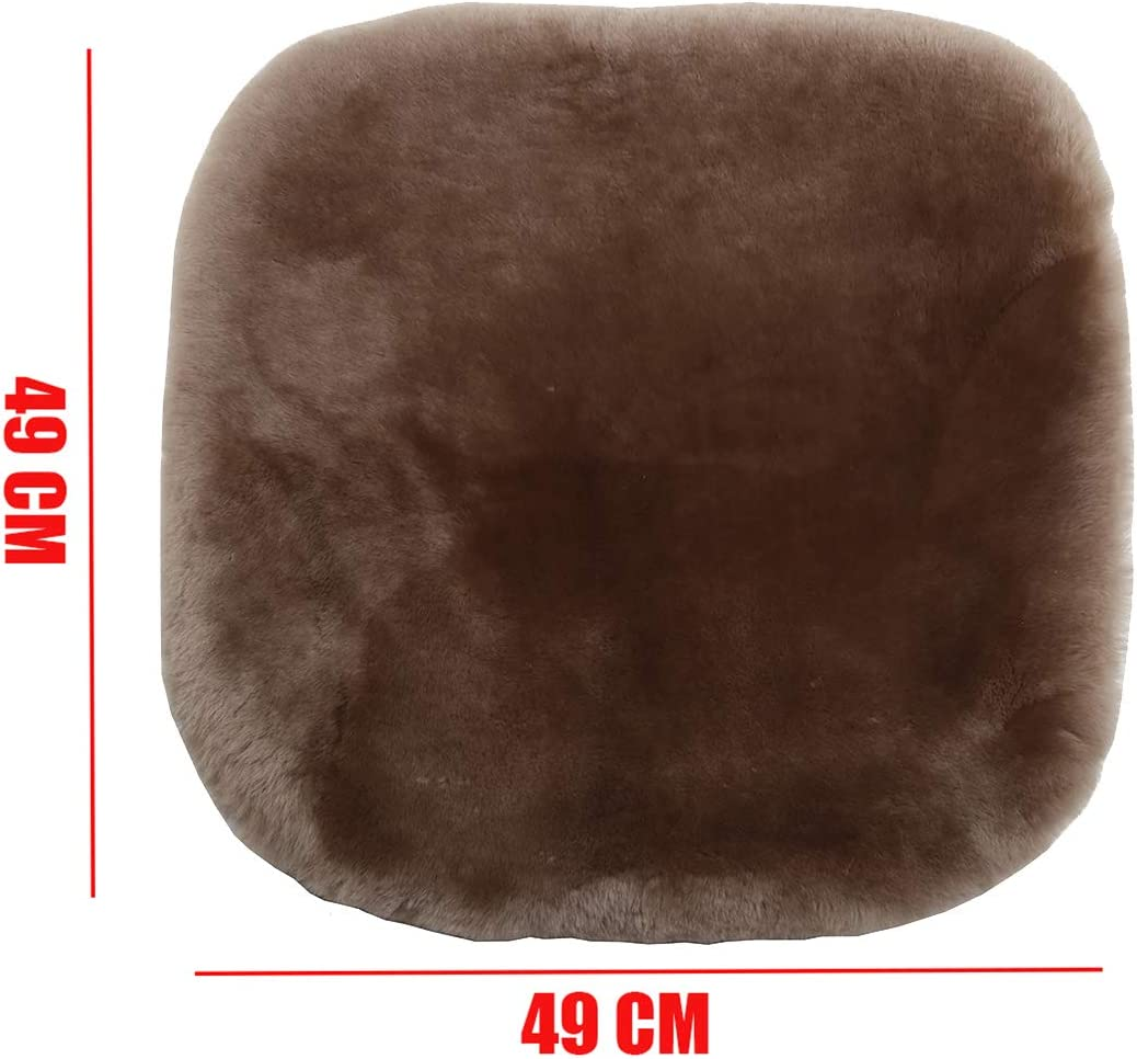 Pure Tan Dotesy Genuine Sheepskin Auto Front Seat Pad,Universal Fit Fuzzy Pure Wool Car Seat Cover Protector Cushion Soft Warm for Winter