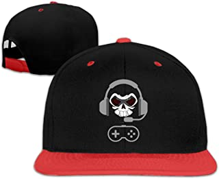 Adgjhbvn Unisex Skull Headset Gamer Toddler Sunscreen Hip Hop Baseball Cap Boys' Girls Red Gorras de Hip Hop de béisbol