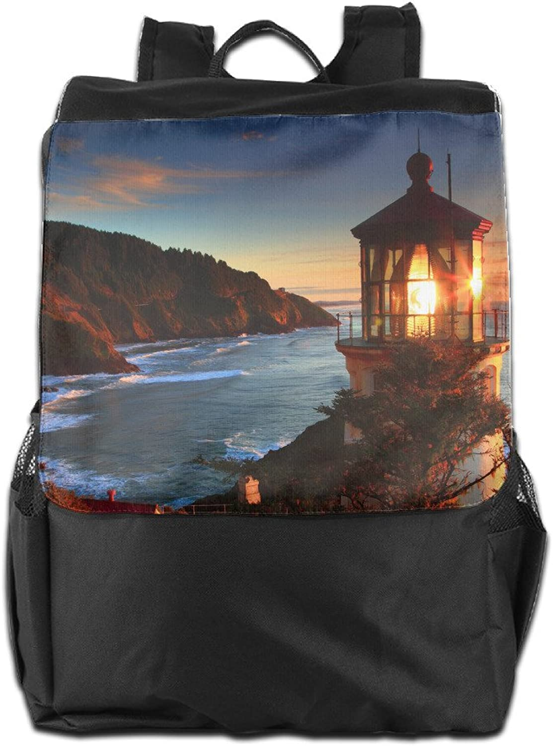 Lighthouses Glowing Sea Coast Sunset Landscape Unisex Casual Travelling Bags