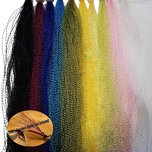 Greatfishing 10 Beste Farbe/Set glitzernde Kristalle Flash Flashabou Lametta Fliegenfischschnur Haken Lure Flash Fliegen Dekorieren Fliegenbinden Material Trockenfliegen