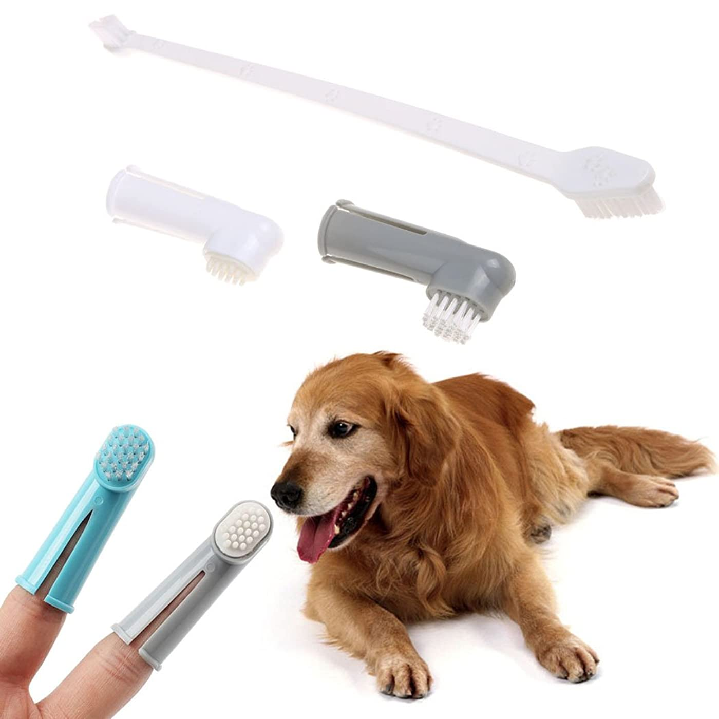 ペネロペ累積形Legendog ペットの歯ブラシ 犬用歯ブラシ 指歯 ブラシ 歯磨き ペット歯ケア用品 カラフル 3ピースセット(合計9個)