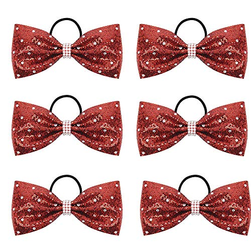 """Oaoleer 6Pcs Boutique 6.5"""" Jumbo Large Tailless Cheer Bow Ponytail Holder Elastic Band Handmade for Cheerleading Teen Girls College Sports (Red)"""