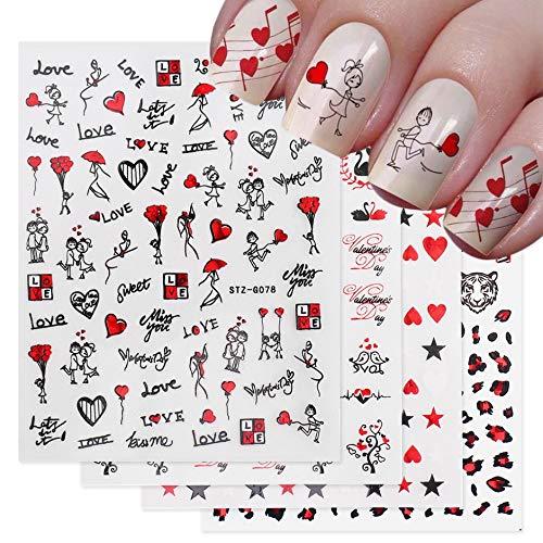 BLOUR Romántico Día de San Valentín Uñas Amor Rosa Flor de Leopardo Láser 3D Pegatinas de uñas Calcomanías Diseño de uñas para envolturas Adhesivas GLSTZG068-085