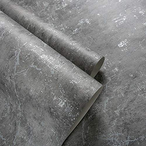 Birwall Stained Cement Concrete Wallpaper Wallcoverings in Livingroom Bedroom Kitchen, 54 Square Ft/roll (Grey 3)