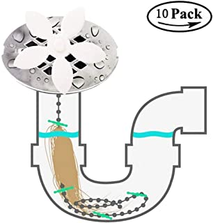 Drain Hair Catcher, 10 Pack,Flower Shower Hair Cleaning Chain, Drain Clog Remover, Tool for Drain Cleaning, Bathroom Chain Hook, Hair Trap for Bathtub Kitchen (White-10)