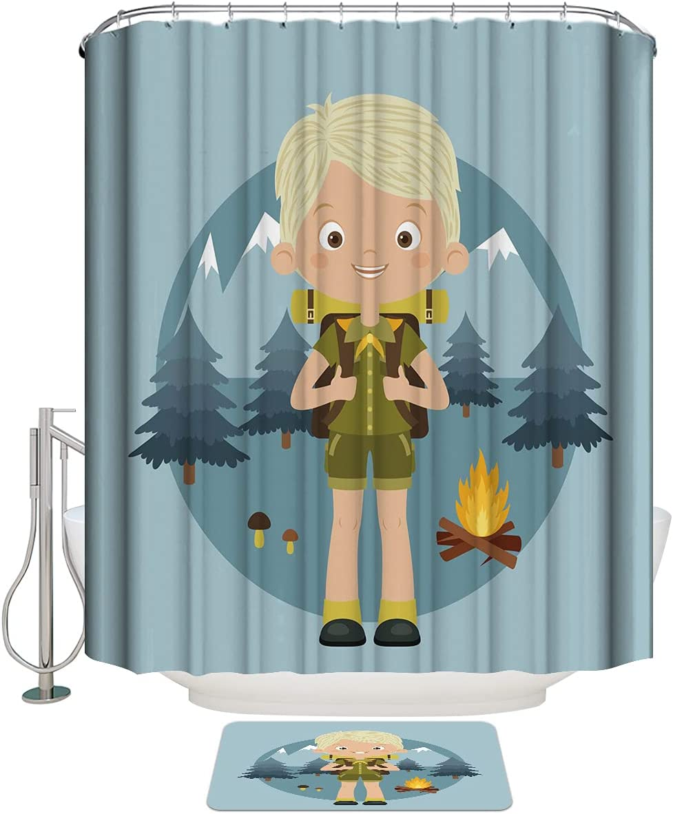 Fashionable COLORSUM Shower Curtain Sets with Cartoon All stores are sold Little B Non-Slip Rugs