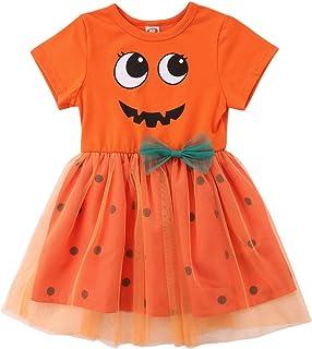 Toddler Baby Girl Halloween Clothes Pumpkin Short/Long Sleeve Princess Dress Lace Tutu Skirt Outfits