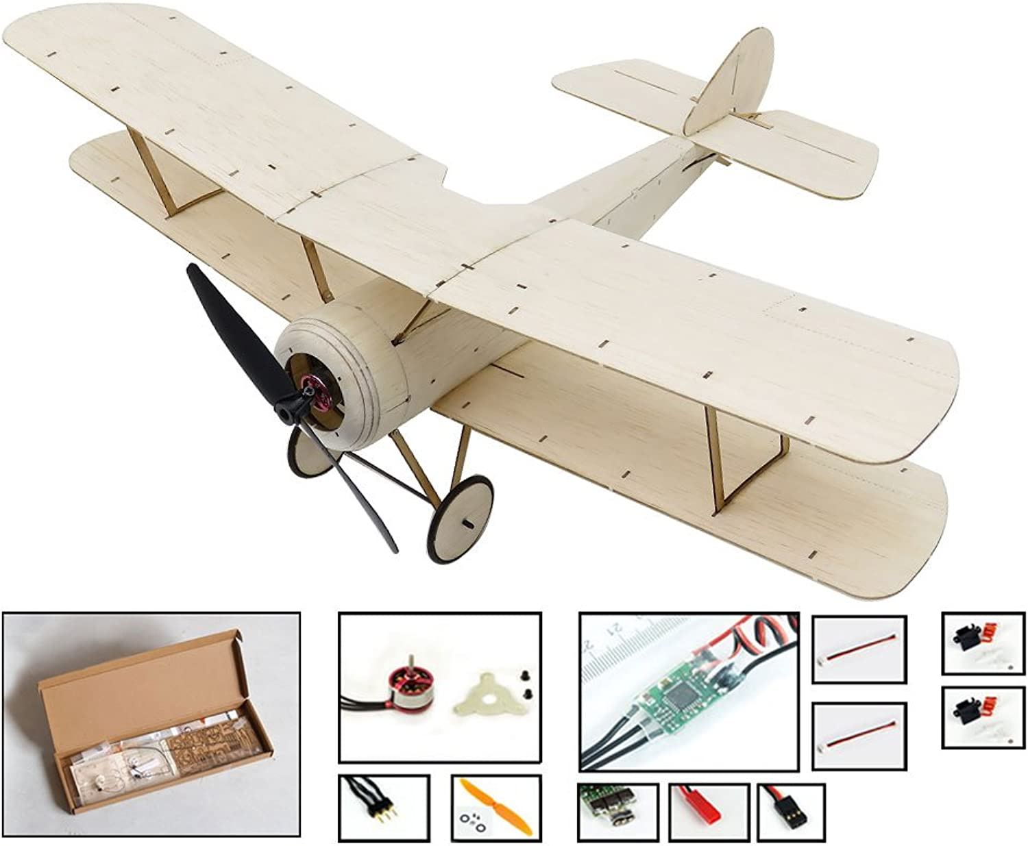 DW Hobby RC Aeroplane Balsawood Plane Sopwith Pup Wingspan 378mm Balsa Wood Model Airplane Building Kit with Power system