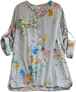 DADKA Blouse for Women Plus Size Casual Loose Print With Buttons Blouse Shirt Tops