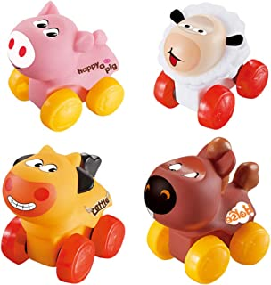 Educational Toy for Baby Kid 4 Pcs Kids Cartoon Scooter Toy Lamb Piglet Horse Cattle Modeling Car Early Childhood Educatio...