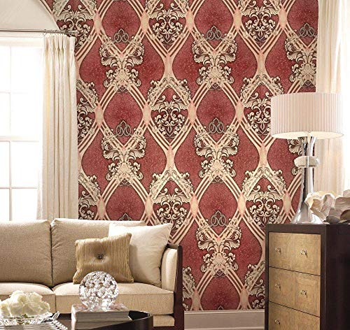 old retro vintage style paper Slavyanski Wallpaper European double rolls wallcovering wall decal decor coverings textured pattern patterned 3D modern textures burgundy beige silver sparkles glitters