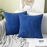 MIULEE 2er Set Cord Weiches Massiv Dekorativen Quadratisch Überwurf Kissenbezüge Kissen für Sofa Schlafzimmer 16'x16', 40 x 40 cm Babyblau