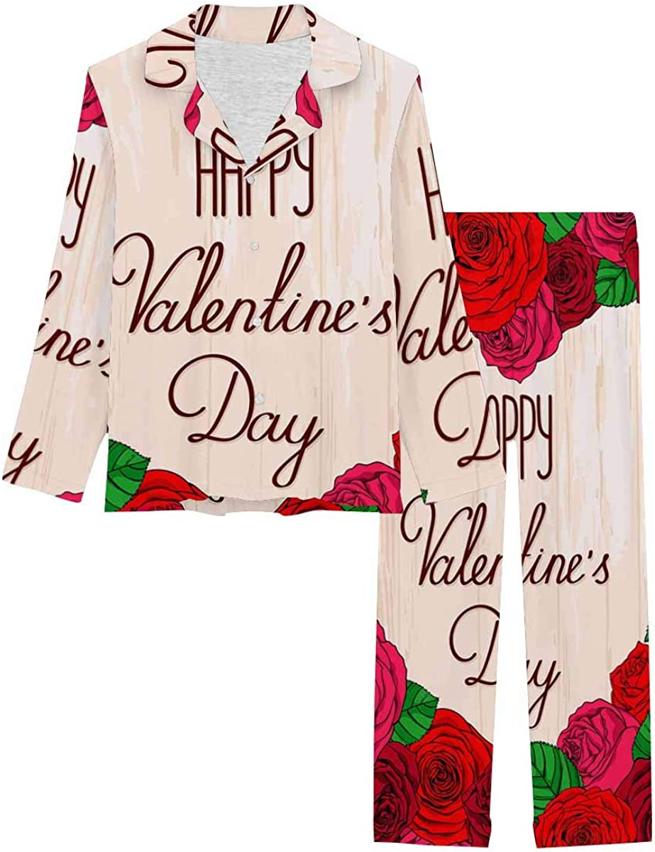 InterestPrint Women's Pajamas Set Button Down Sleepwear with Long Pants Roses with Lettering