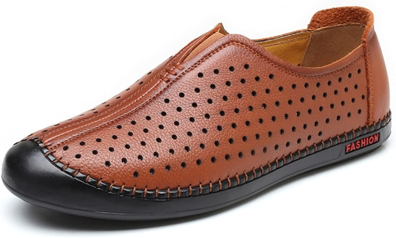 JIALUN-Schuhe Herren Klassische Echtleder Schuhe Atmungsaktiv Perforation Perforation Perforation Runde Zehe Slip-on Flache Sohle Loafer (Farbe   Braun, Größe   8.5 MUS)  cbc47e