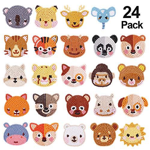 24 STÜCKE 5D Diamant Malerei Kits für Kinder, Tier Muster DIY Kunst und Handwerk Kits für Kinder Aufkleber Farbe mit Diamanten nach Zahlen