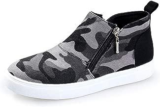 haoricu Women's Plus Size Shoes Ladies Casual Camouflage Flats Girl Comfortable Zipper Gao Bang Booties