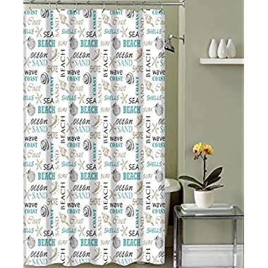 Ocean Shells Theme Fabric Shower Curtain: Modern Decorative Typography and Pictorial Design