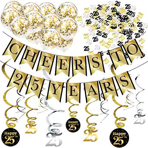 Sterling James Co. Decoraciones de Fiesta de 25 años y Kit de Aniversario – Pancarta Cheers to 25 Years, Globos, serpentinas y Suministros para la Fiesta Confeti.