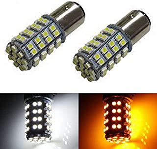 iJDMTOY 60-SMD 1157 Dual-Color Switchback LED Bulbs For Front Turn Signal (60-White 60-Amber)