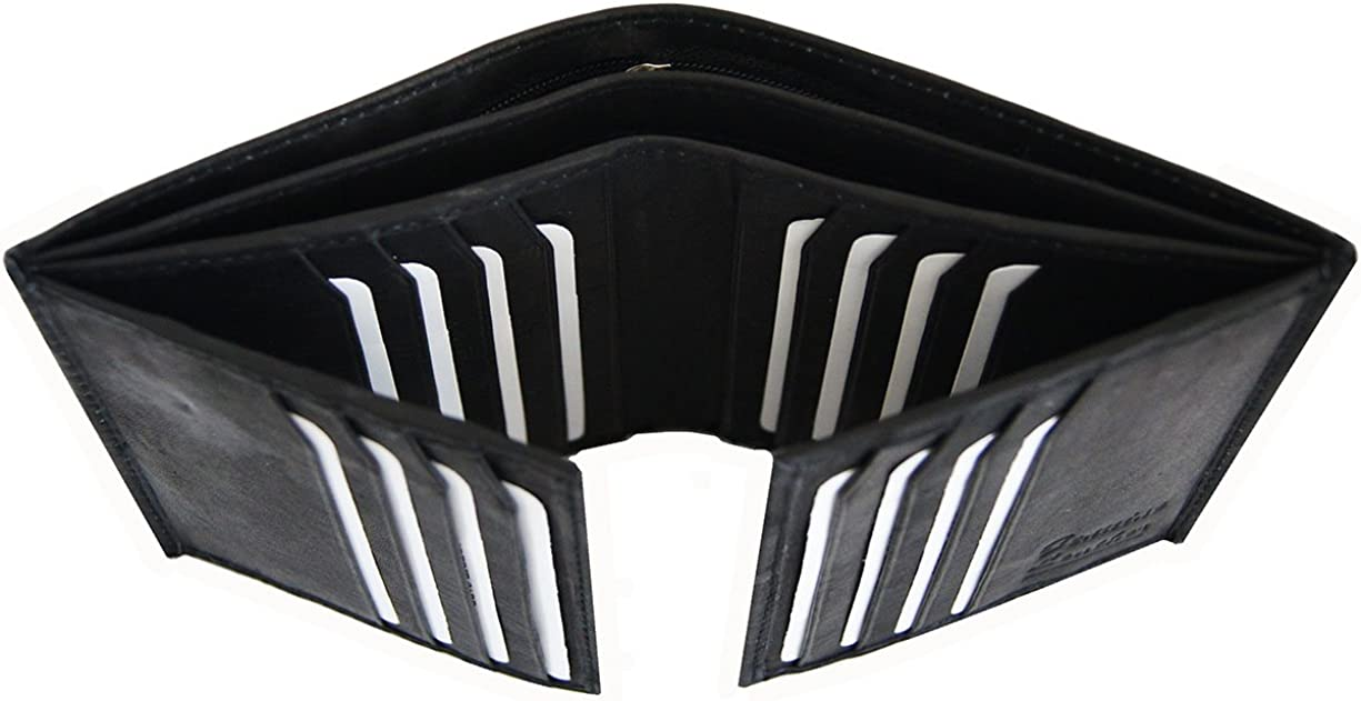 AG Wallets Men's Cowhide Leather European Bifold Multi Card Hipster 2 ID Window