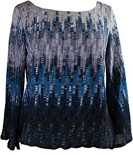 Alfani Blue Angel-Sleeve Embellished Printed Blouson Top