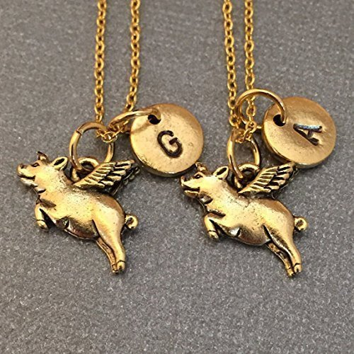 Best friend necklace, flying pig necklace, animal necklace, bff necklace, sister, friendship jewelry, personalized, initial, monogram
