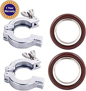 Quick Clamp Vacuum Adapter - 2 Sets KF-25, Flage Size NW-25 Flange Clamp With Wing Nut Closure + Centering Ring With FKM O-ring, Stainless Steel (304) All