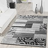 Alfombra económica con diseño moderno para el salón, color gris y crema, polipropileno, 160 x 220 cm