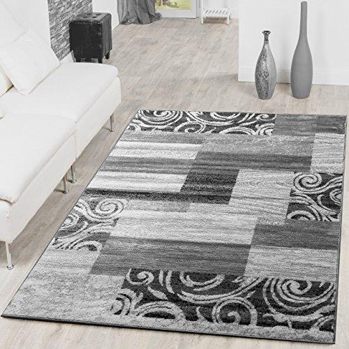 Teppich Günstig Patchwork Design Modern Wohnzimmerteppich Grau Creme, Größe:160x220 cm