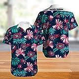 Short Sleeve Tops Été LNH T-Shirt-hawaïenne T-Shirt - MONTRÉAL 3D Imprimer Unisexe Canadiens T-Shirt Décontracté Adolescents D'été - Cadeaux pour Mer Et Plage A- L